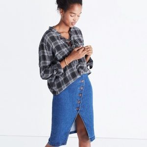 Madewell Terrace Lace-Up Pullover in Owens Plaid